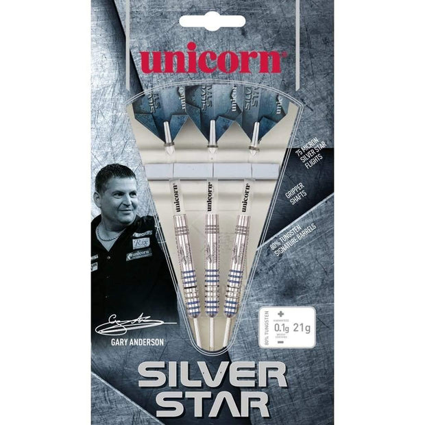 Gary Anderson Darts Silver Star Style 2 Steel Tip Unicorn Darts 21g 23g 25g and 27g