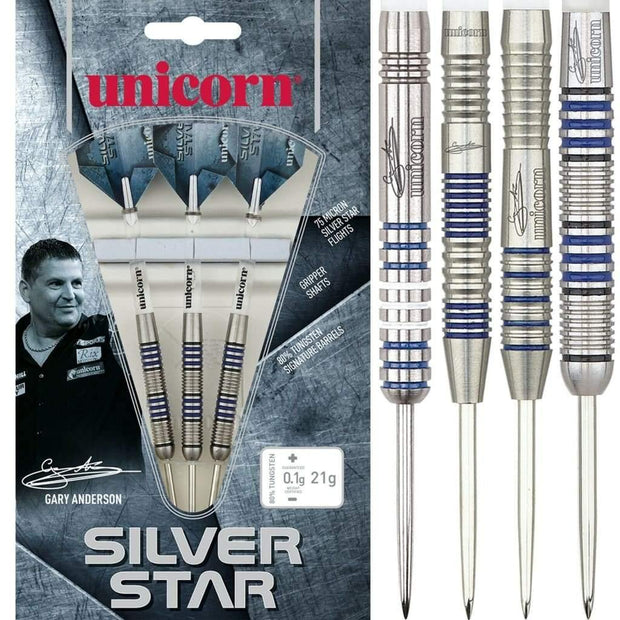 Gary Anderson Darts Silver Star Style 3 Steel Tip Unicorn