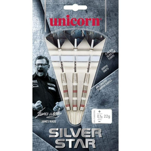 James Wade Silver Star Steel Tip Unicorn Darts 22g 24g 26g and 28g