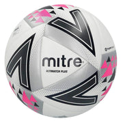 Mitre Ultimatch Plus Match Ball - White/Silver/Pink / Size 3