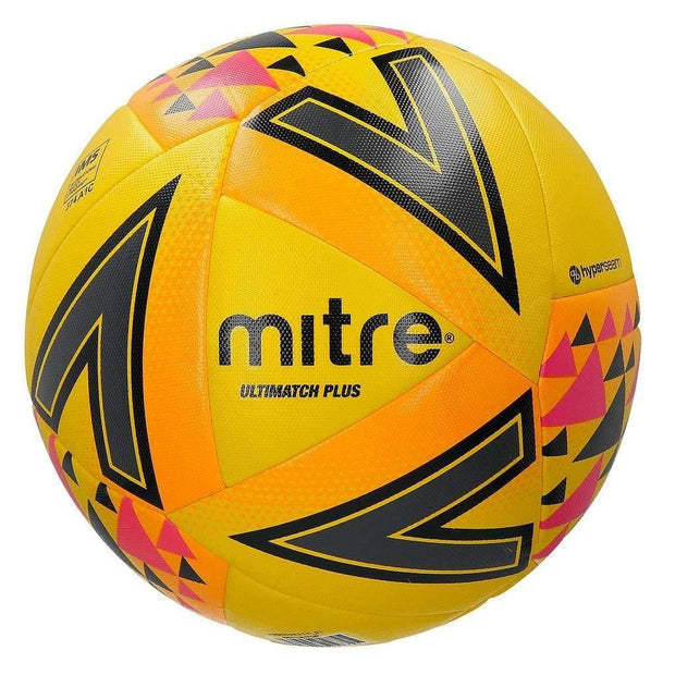 Mitre Ultimatch Plus Match Ball - Yellow/Orange/Pink / Size