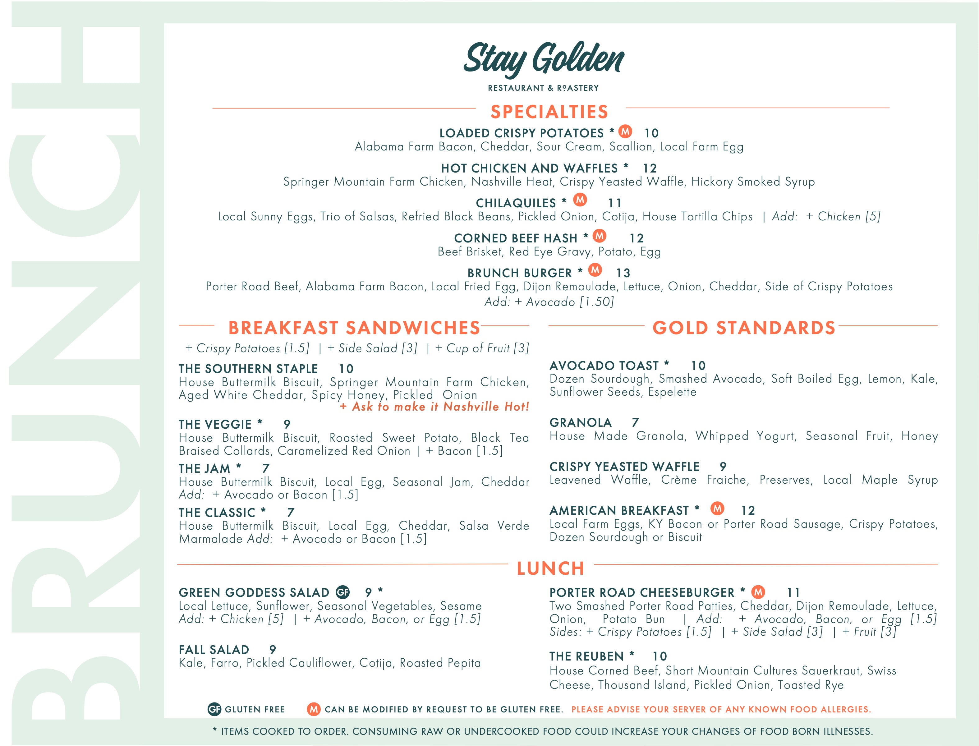 Stay Golden Brunch Menu