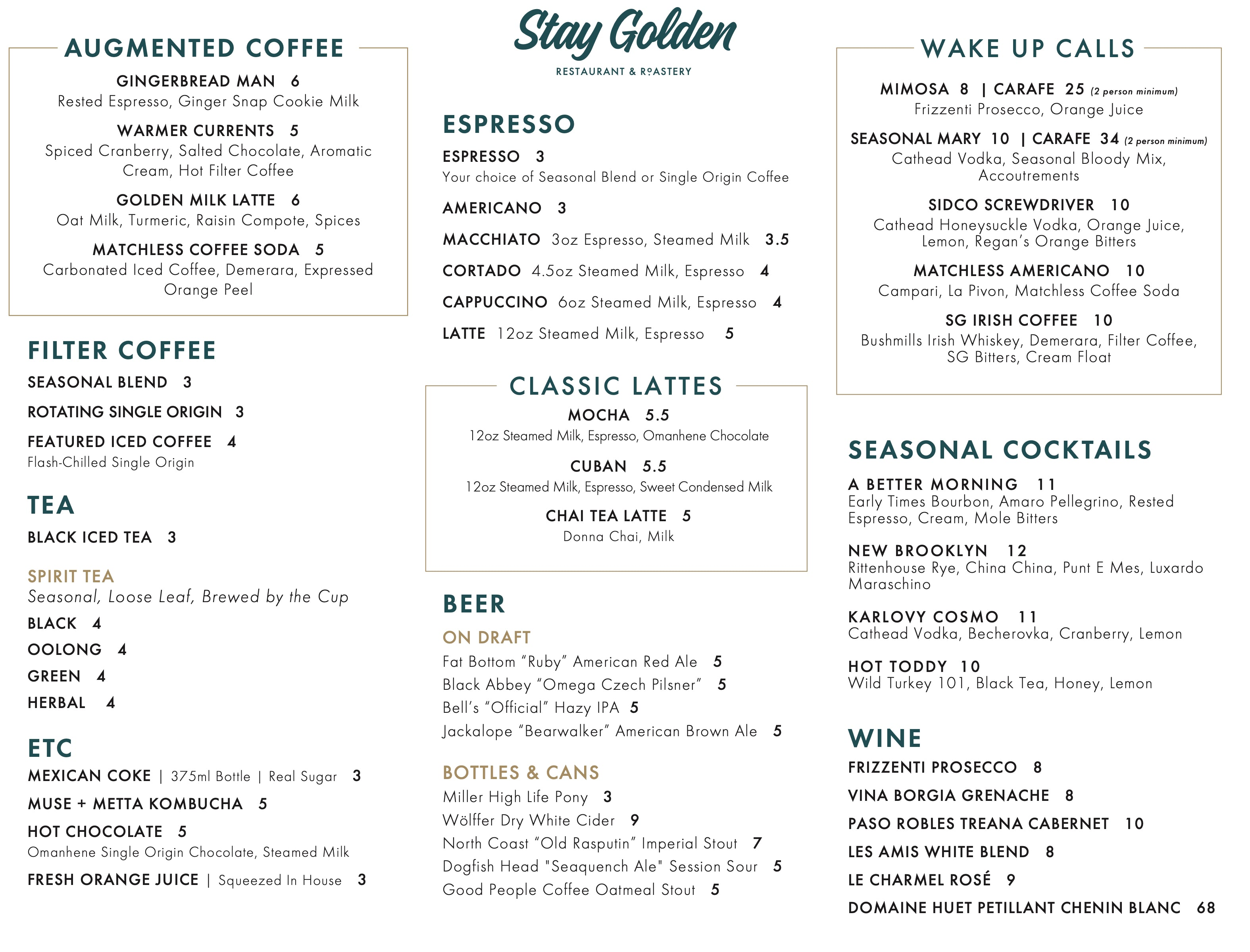 Stay Golden Menu