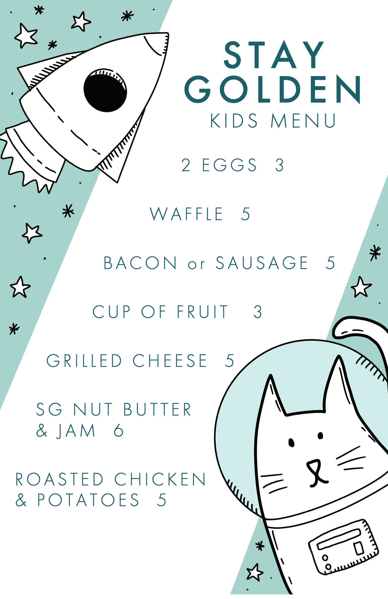 Stay Golden Kids Menu
