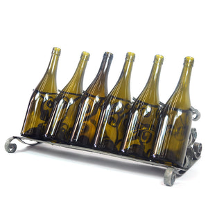 Counter Top Wine Bottle Holder - The Scroll - Wine Barrel Ring Bottle Holder