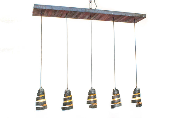 Reti - Barn Wood & Barrel Ring Chandelier with Cobra Pendant Lights
