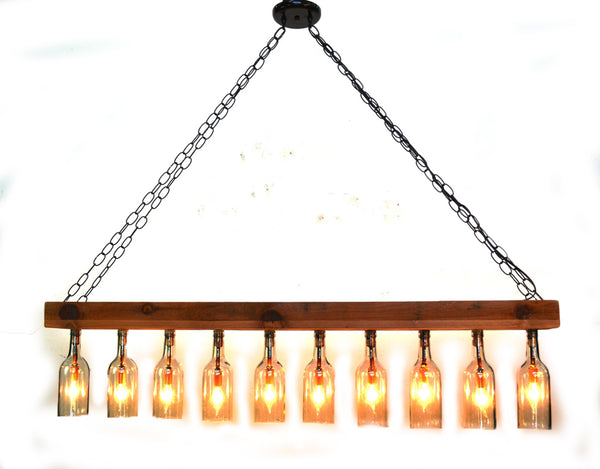 RUSTIC Collection - Sasya - Reclaimed Barn Wood and Wine Bottle Chandelier