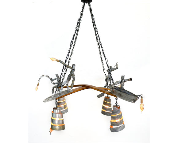 WINE BOT Collection - Seaside -  Barrel Ring Chandelier