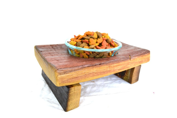 Wine Barrel Cat Food Dish - Ikati - Made from retired Stags Leap wine barrels 100% Recycled Wood + Free US Shipping!