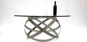 "Wine Barrel Ring Coffee Table ""Kukul"" made from retired Napa wine barrel rings -100% recycled and reclaimed -Free Shipping! (US Only)"