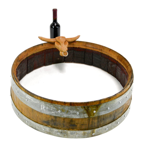 Wine Barrel Bull Wreath / Door Hanger - Highland - Reclaimed Napa Valley wine barrel - 100% Recycled + Free US Shipping!