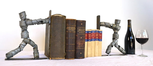 WINE BOT Collection - Kitabu - Wine Barrel Ring Bookends