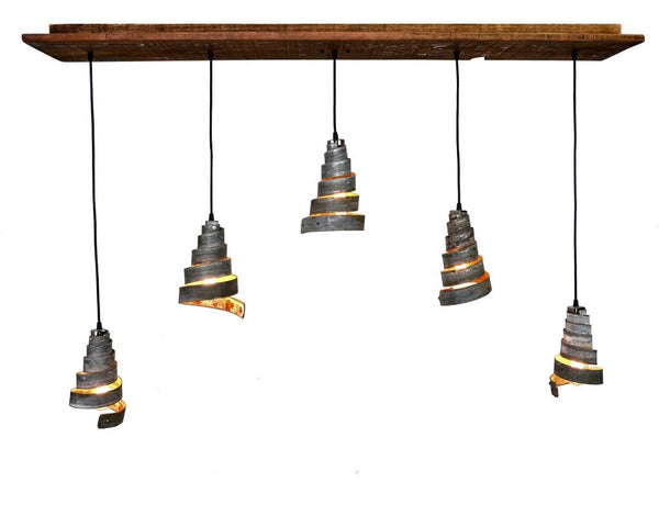 RUSTIC Collection - Vachellia - Reclaimed Barn Wood and Wine Barrel Ring Chandelier