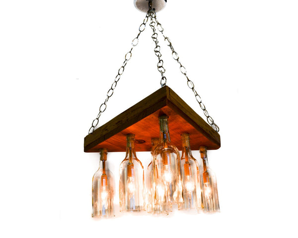 RUSTIC Collection - Adala - Reclaimed Barn Wood and Wine Bottle Chandelier