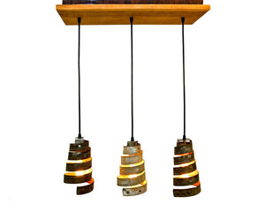 RUSTIC Collection - Caledonia - made from Reclaimed Barn Wood and salvaged Wine Barrel Rings - Chandelier