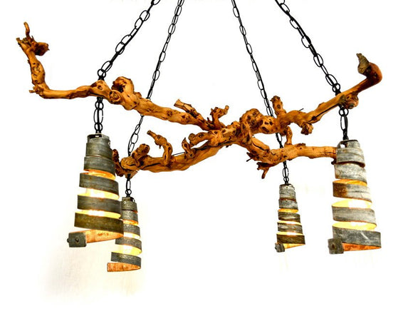 OLD VINE Collection - Dolcetto - Vine and Wine Barrel Ring Chandelier