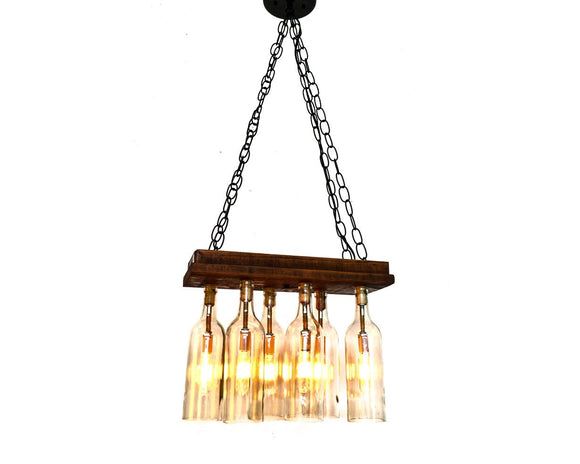 RUSTIC Collection - Aranya - Reclaimed Barn Wood and Wine Bottle Chandelier