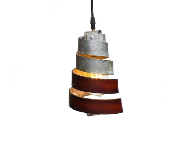 LEATHER & BARREL RING Collection - Koonus - Leather and Barrel Ring Pendant Light