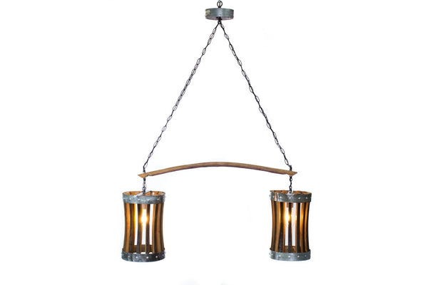 CRAFTSMAN Collection - Double Pannier - Wine Barrel Chandelier