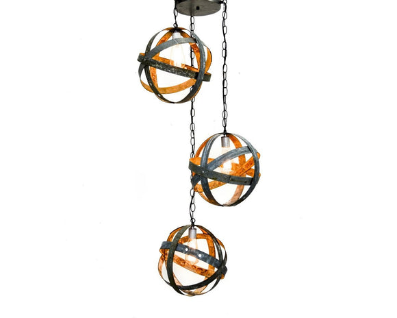 ATOM Collection - Apex -  Triple Globe Barrel Ring Chandelier