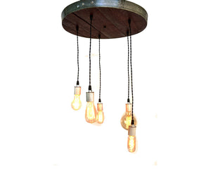 RADIANCE Collection - Corona - Wine Barrel Head Adjustable Chandelier