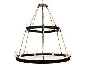 HALO Collection - Parapet - Wine Barrel Chandelier with natural rope