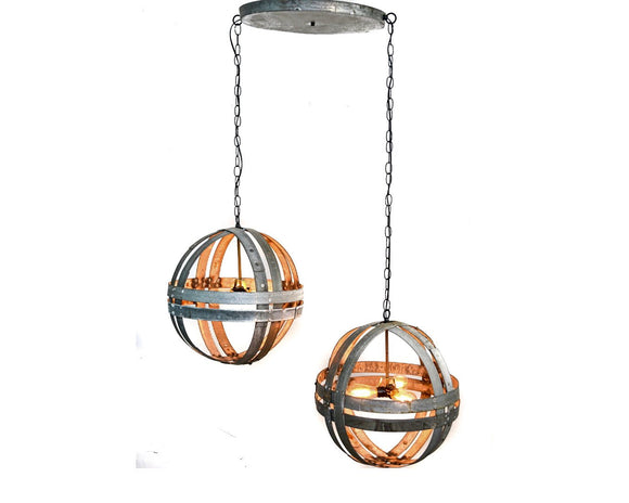 ATOM Collection - Dualistic - Wine Barrel Double Ring Chandelier