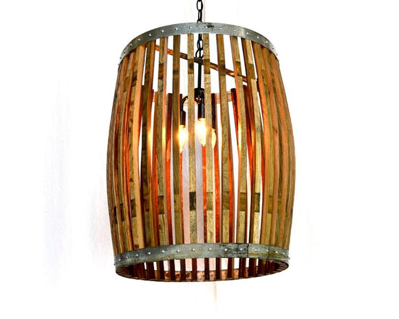 CRAFTSMAN Collection- Yukimi - Wine Barrel Chandelier Large Convex Light