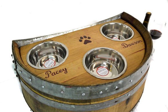 PET Collection - Marmorata - Wine Barrel Pet Feeder  - elevated food and water station
