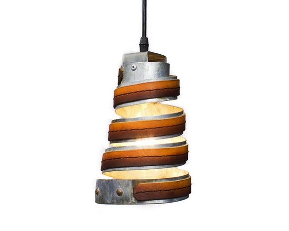 LEATHER & BARREL RING Collection - Kerek - Ombre Leather Pendant Light