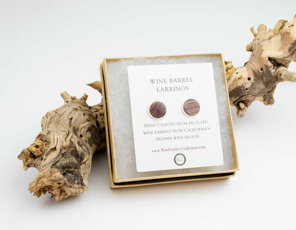Wine Barrel Stave Post Stud Earrings - Studs