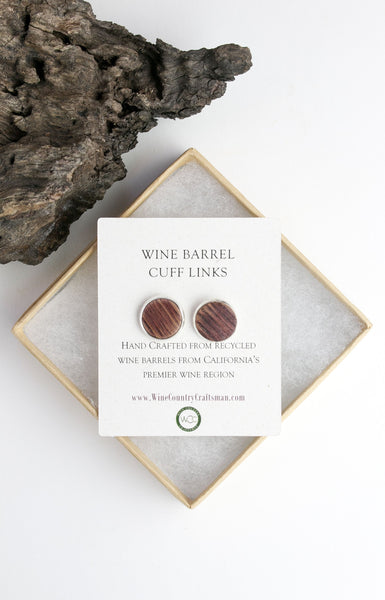 Round Wine Barrel and Silver Cuff links - Regards