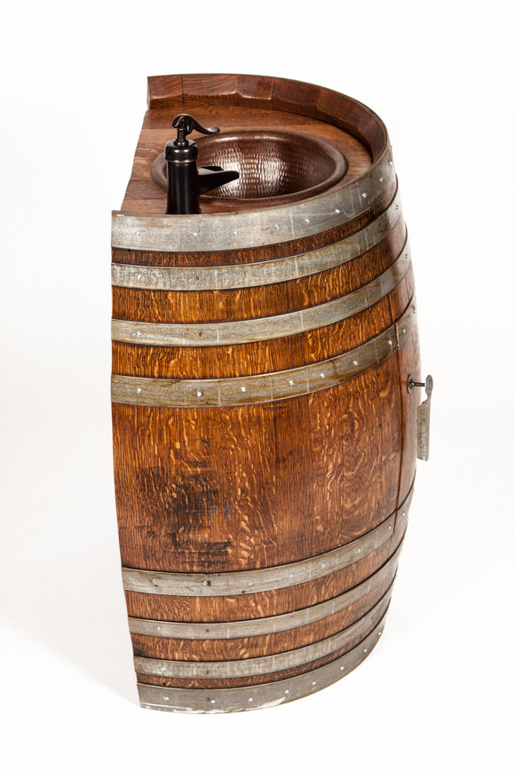 The TreQuarti - Wine Barrel Sink with hammered copper sink and faucet