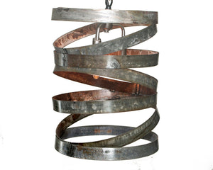 "VITALI Collection - ""Potes"" - Wine Barrel Ring Cylinder Pendant Light made from salvaged Napa wine barrel rings - 100% Recycled"