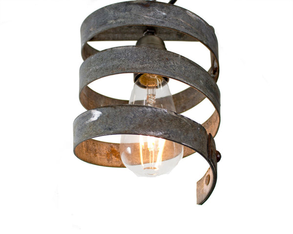 "Wine Barrel Ring Pendant Light - VITALI Collection - ""Tohatra"" - made from salvaged Napa wine barrel rings - 100% Recycled!"