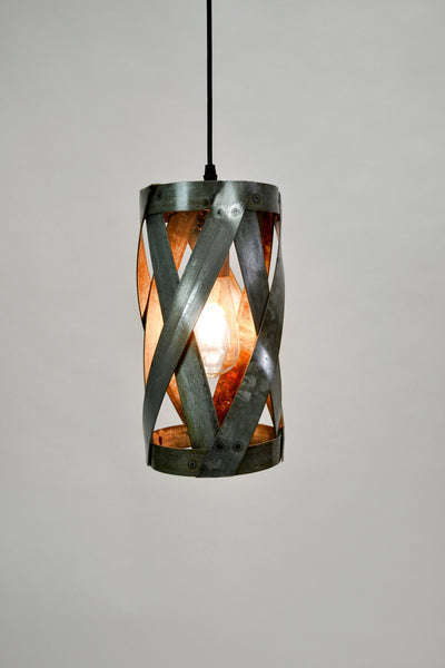 "VITALI Collection - ""Patu"" - Wine Barrel Ring Swirl Pendant Light made from salvaged Napa wine barrel rings - 100% Recycled!"