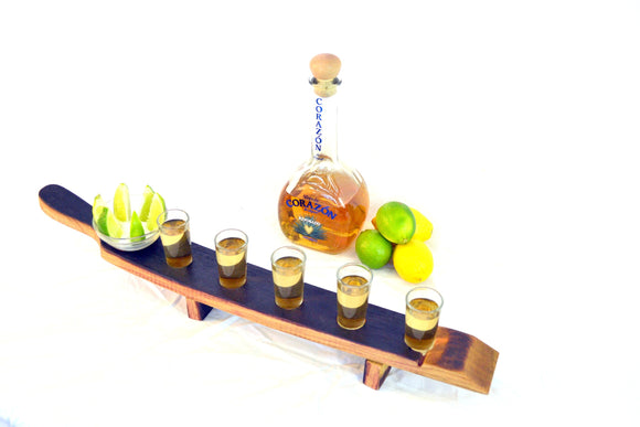 SAMPLER - Quinque  - Wine Barrel Tequila Serving Sampler Tray