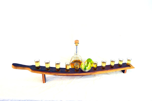 SAMPLER - Kumiko - Wine Barrel Tequila Serving Sampler Tray with handle