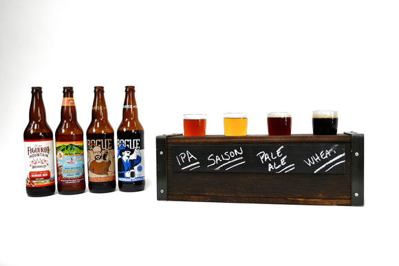 SAMPLER - Peleti - 4 Glass - Beer Flight Sampler paddle with chalkboard front