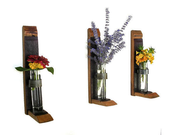 Isotria - Wine Barrel Wall Hanging Flower or Candle Holders