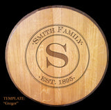 BARREL ART Collection - Custom Engraved Wall Art - Personalized Wine Barrel Head