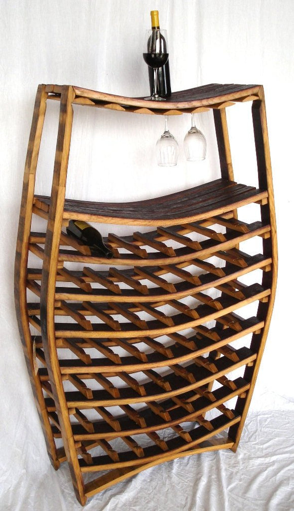 WINE RACK Collection - Condrie -Big Wine Barrel Wine and Glass Rack