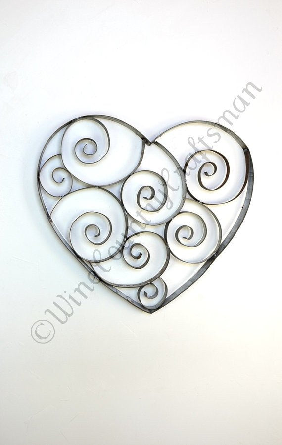 Wine Barrel Ring Heart with swirls RING ART Collection - Tresna - 100% Recycled!