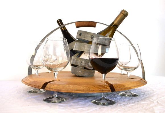 The Tabaka - Wine Barrel Wine Caddy OR Serving Tray