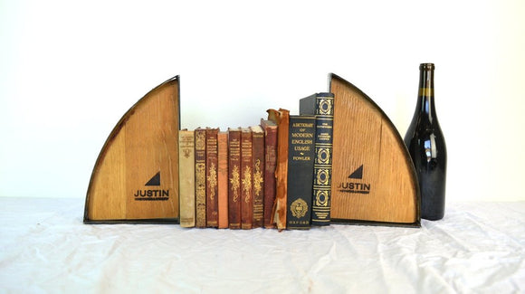 Barrel Head - Wine Barrel Bookends with Justin winery logo