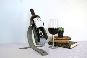 "Counter-Top Wine Barrel Bottle Holder -made from retired Napa wine barrel rings -  100% recycled!  PORTA - ""Angulus""-"