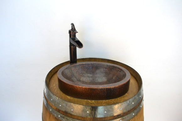The Vanyi  - Wine Barrel Sink Vanity with skirted copper sink and faucet