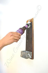"The ""Crack Open a Cold One"" - Wine Barrel Stave Bottle Opener"