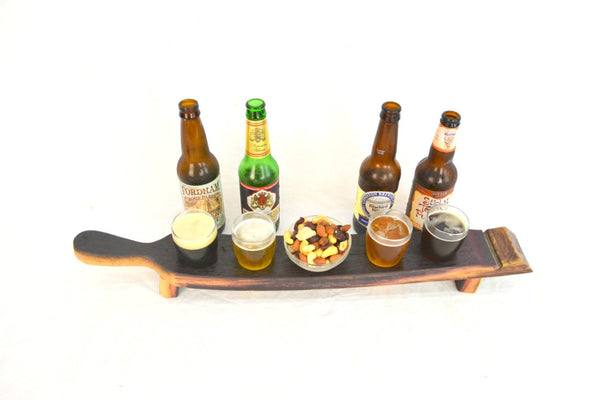 SAMPLER - Domo - 4 Glass Wine Barrel Beer Flight with Snack bowl