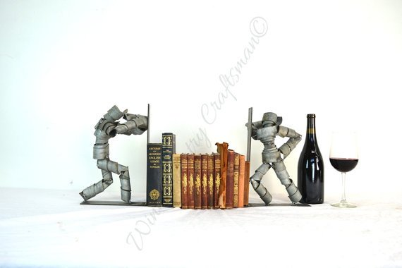 WINE BOT Collection - Peeping Tom - Wine Barrel Ring Bookends